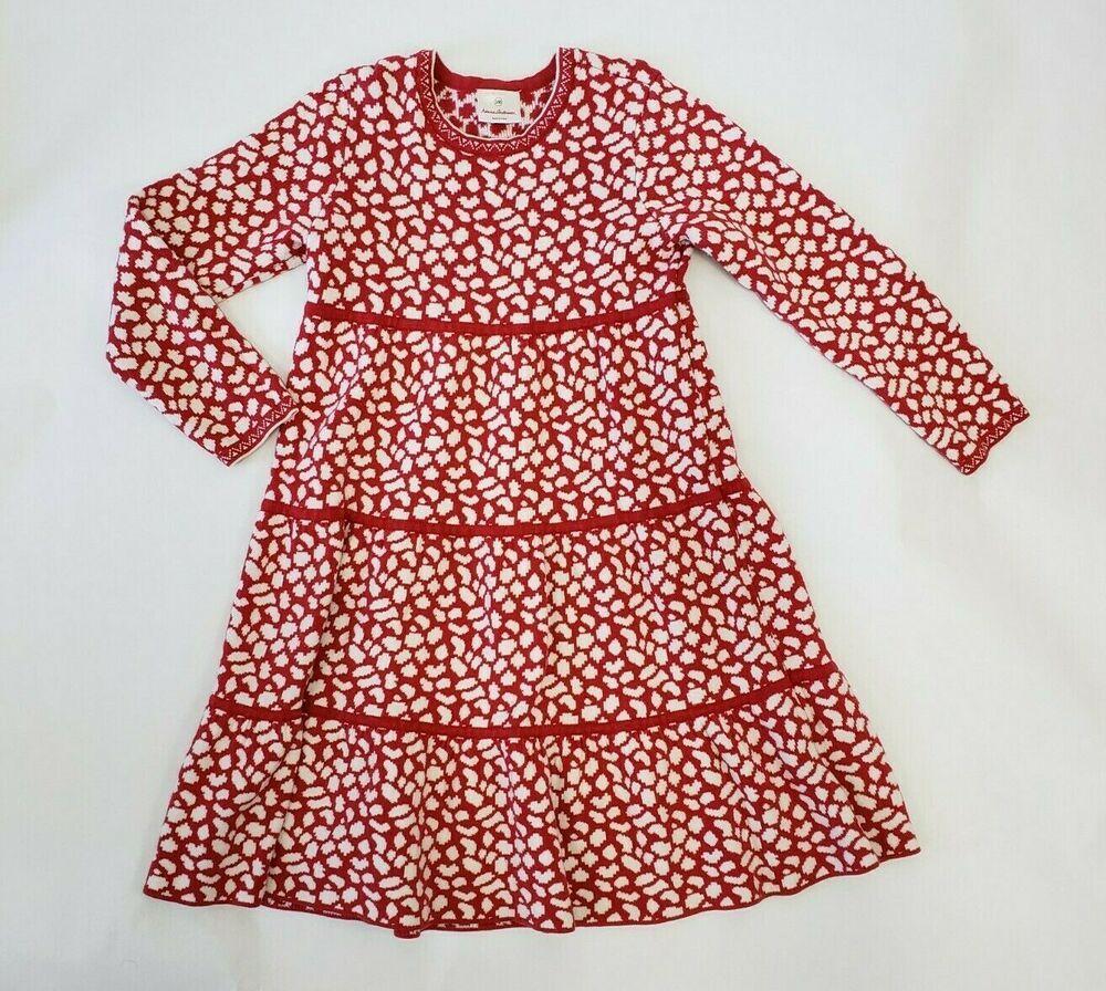 ad8b270b98 Hanna Andersson Girls Sweater Dress Size 10 140 Red   White Knit Twirl  tiered  HannaAndersson