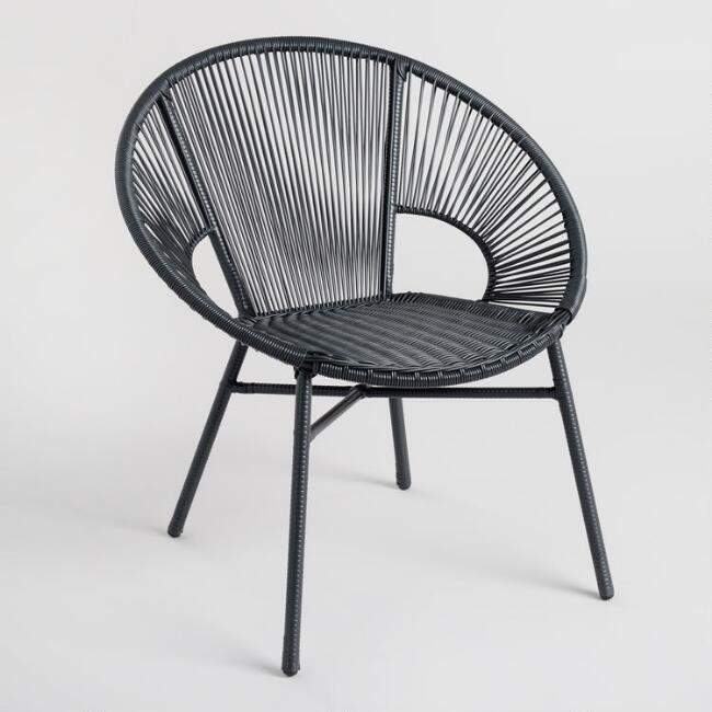 World Market Round Black All Weather Wicker Camden Outdoor Chair