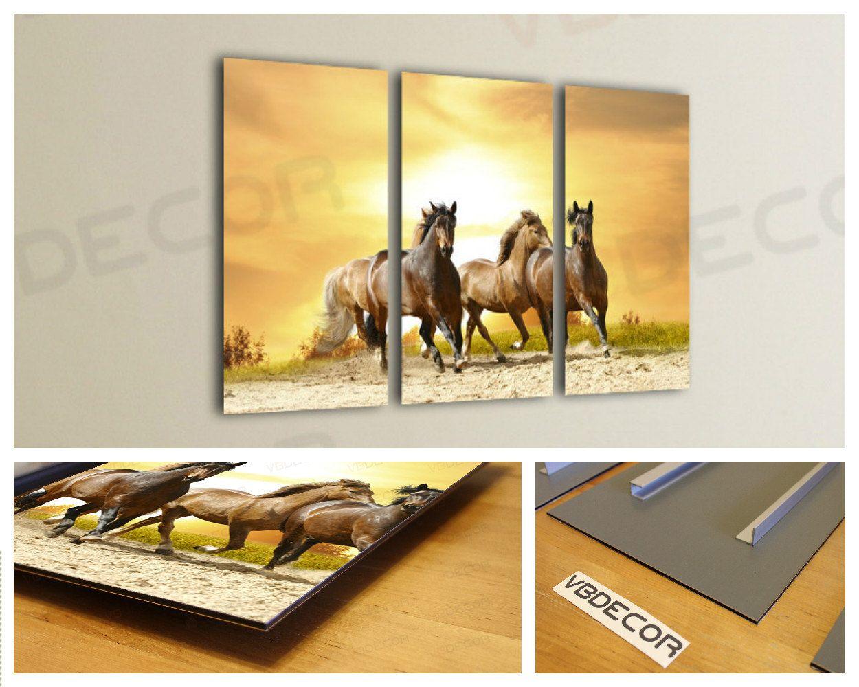 Three horses wall art multi panel split triptych aluminium composite ...