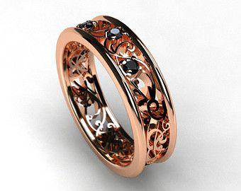 Two tone filigree ring rose gold white gold by TorkkeliJewellery