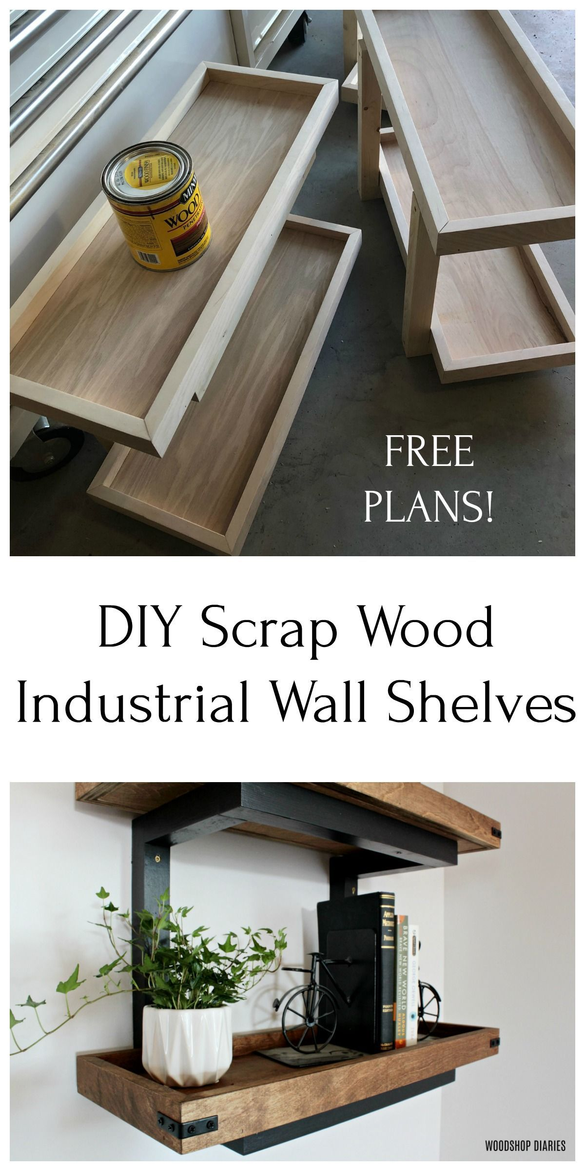Build your own industrial style wall shelves from scrap