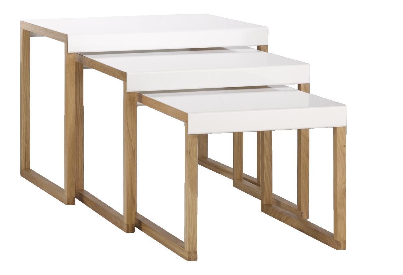 Kilo Tables Gigognes En Acier Laque Blanc Et Pieds En Chene Bijzettafel Massief Eiken Interieur