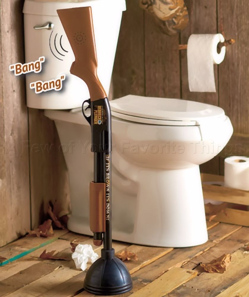 The redneck gun toilet plunger shotgun bathroom home decor great gag ...