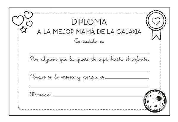 Diploma a la mejor mamá: dibujo para colorear e imprimir | Mamá ...