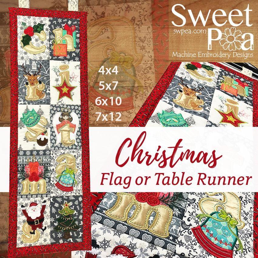 Christmas Star Table Runner 4x4 5x5 6x6 Machine Embroidery Designs Christmas Flag Machine Embroidery