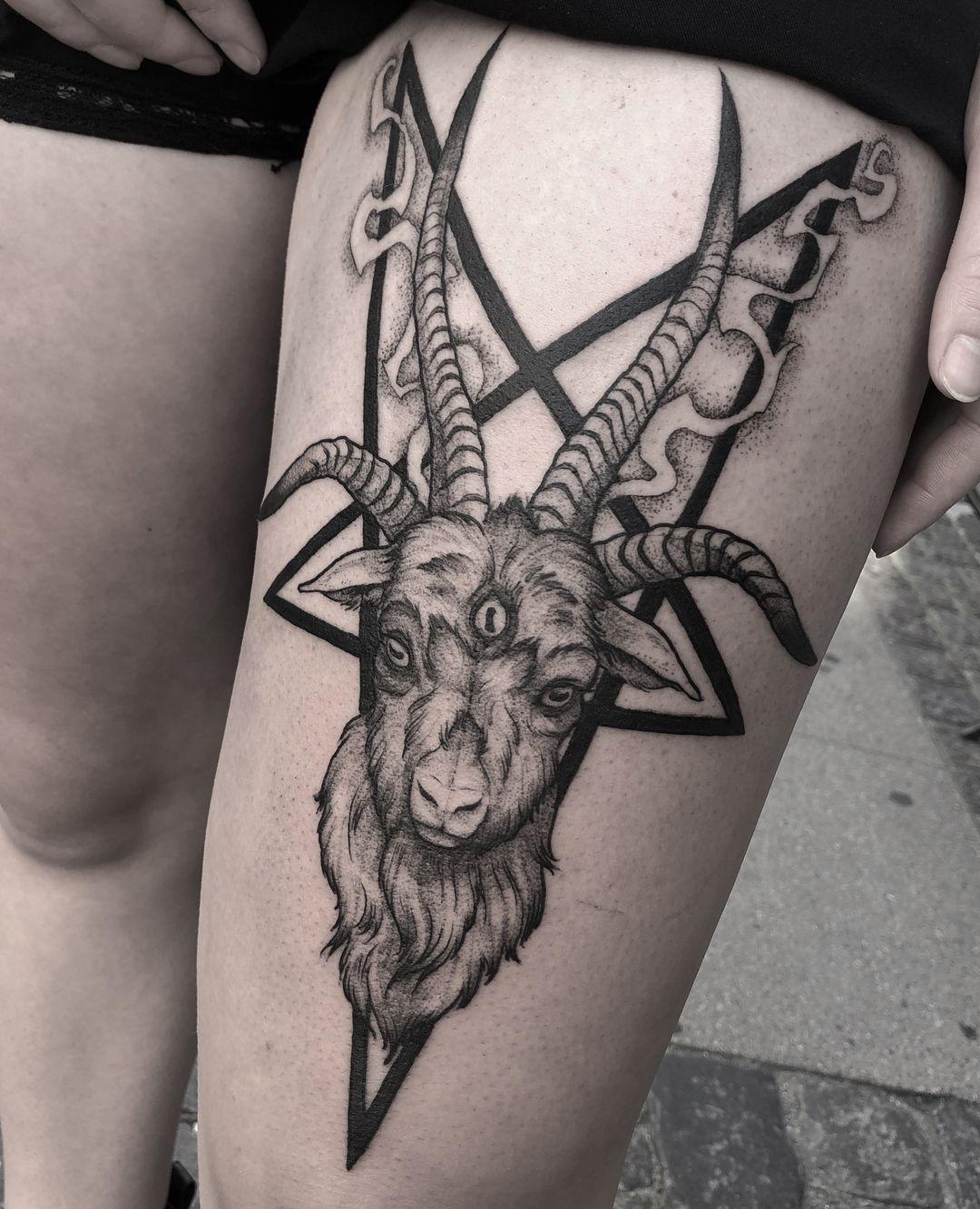 e9feb0b46 Cutesy little goat for Adriana 🔪 thank you and hail Satan! Made at  @deathorglorykbh . . . . . . . . #tattooapprentice #goat #satanic #satan…
