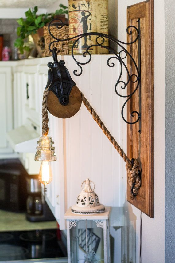 barn pulley edison rope light with glass insulator on a decorative