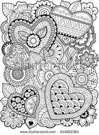 Vector coloring book for adult. Hearts and flowers | Heart ...