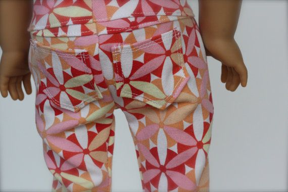 Fun Flower SKINNY JEANS for American Girl made by Closet4Chloe