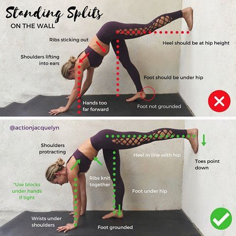 standing splits on the wall is our pose for day 4 of the