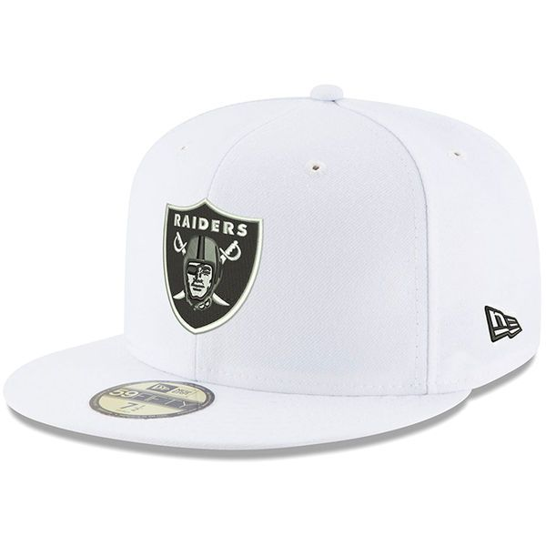 size 40 511ab c4de5 Oakland Raiders New Era Team Logo Omaha 59FIFTY Fitted Hat - White -  34.99