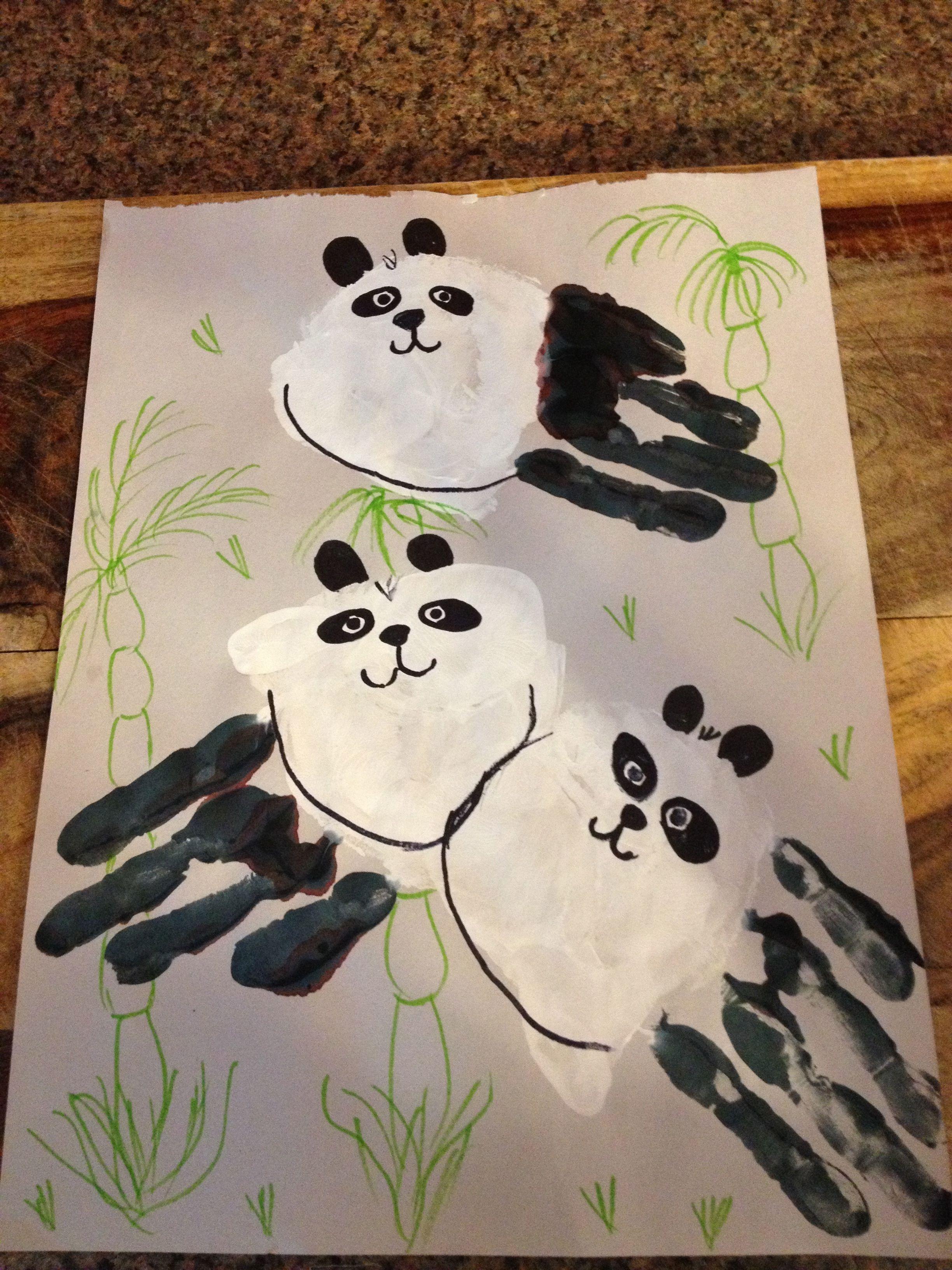 Hand Print Panda Bears