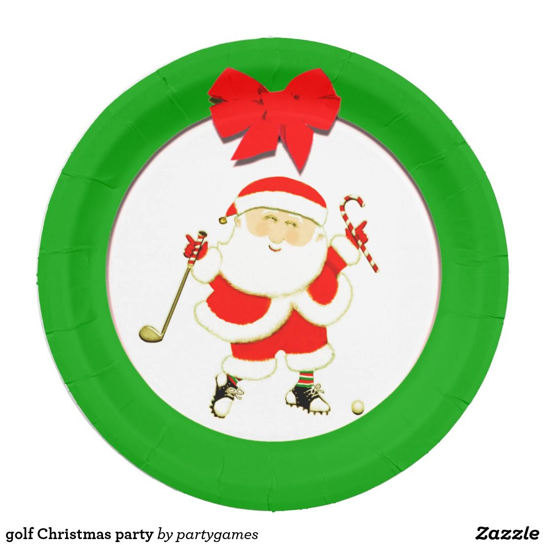 golf Christmas party Paper Plate | Golf Christmas and New Year ...
