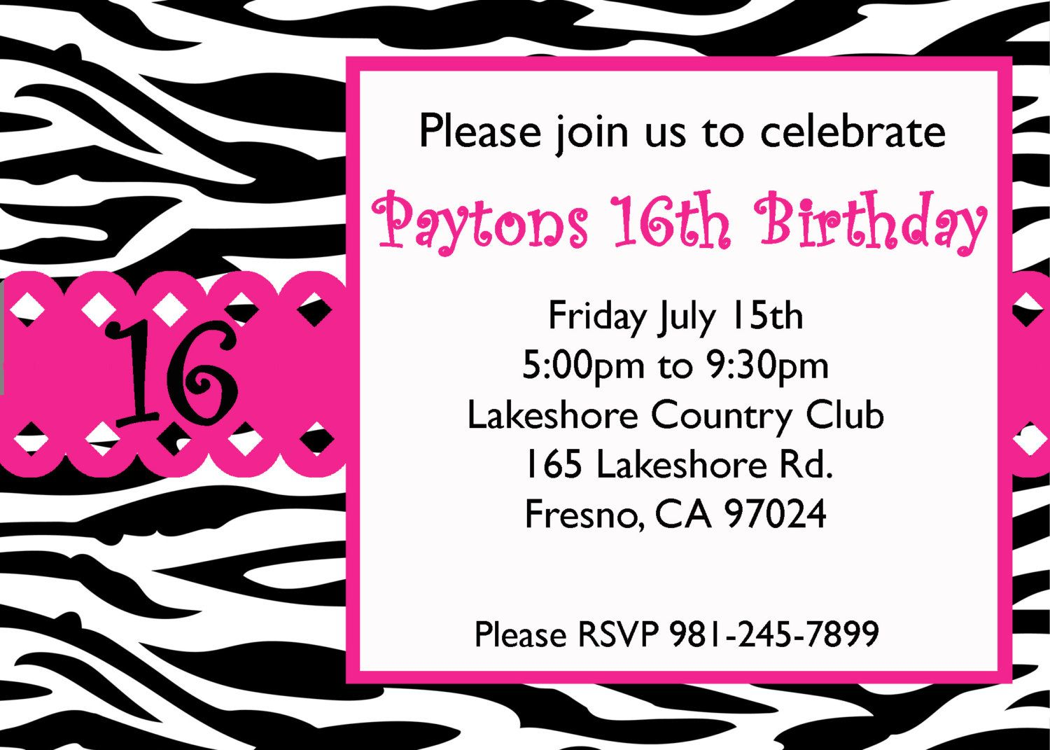 Download Now FREE Template Sweet 16 Birthday Invitations Templates