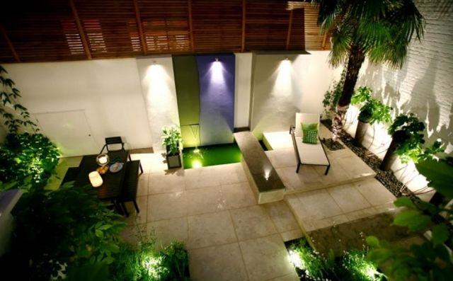 Beleuchtung Terrasse beleuchtung terrasse wasserspiel pflanzen essbereich wohnen