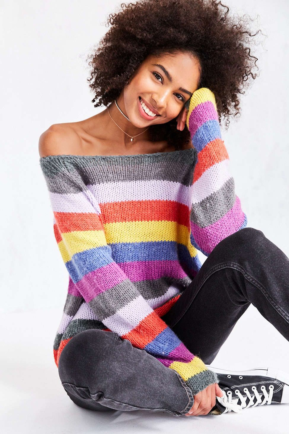 Cooperative Rainbow Stripe Off-The-Shoulder Sweater - Urban ...
