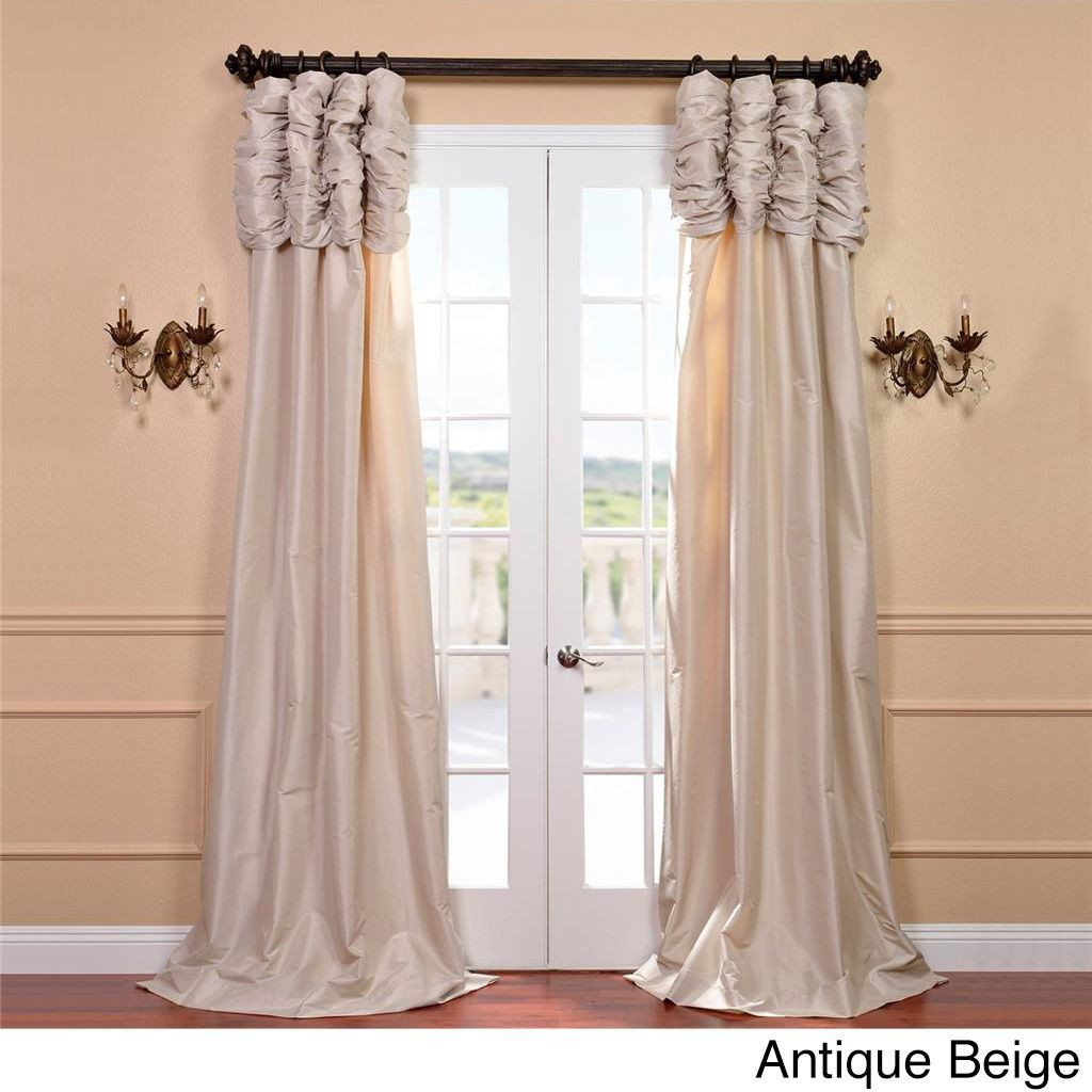 Exclusive Fabrics Ruched Header Solid Color Faux Silk Taffeta 108 Inch Curtain Panel Antique