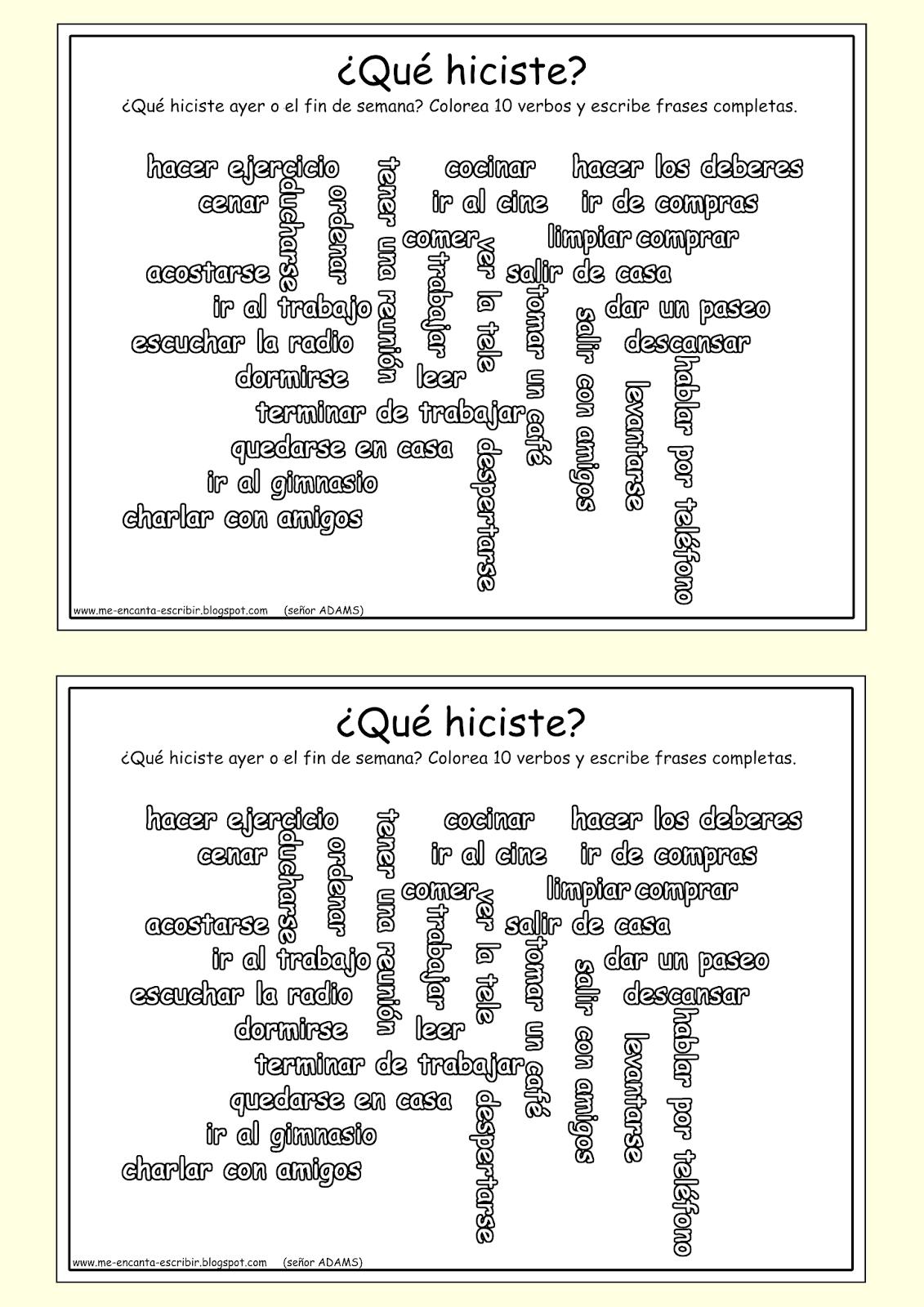Me encanta escribir en español: el pretérito   Educación emocional ...