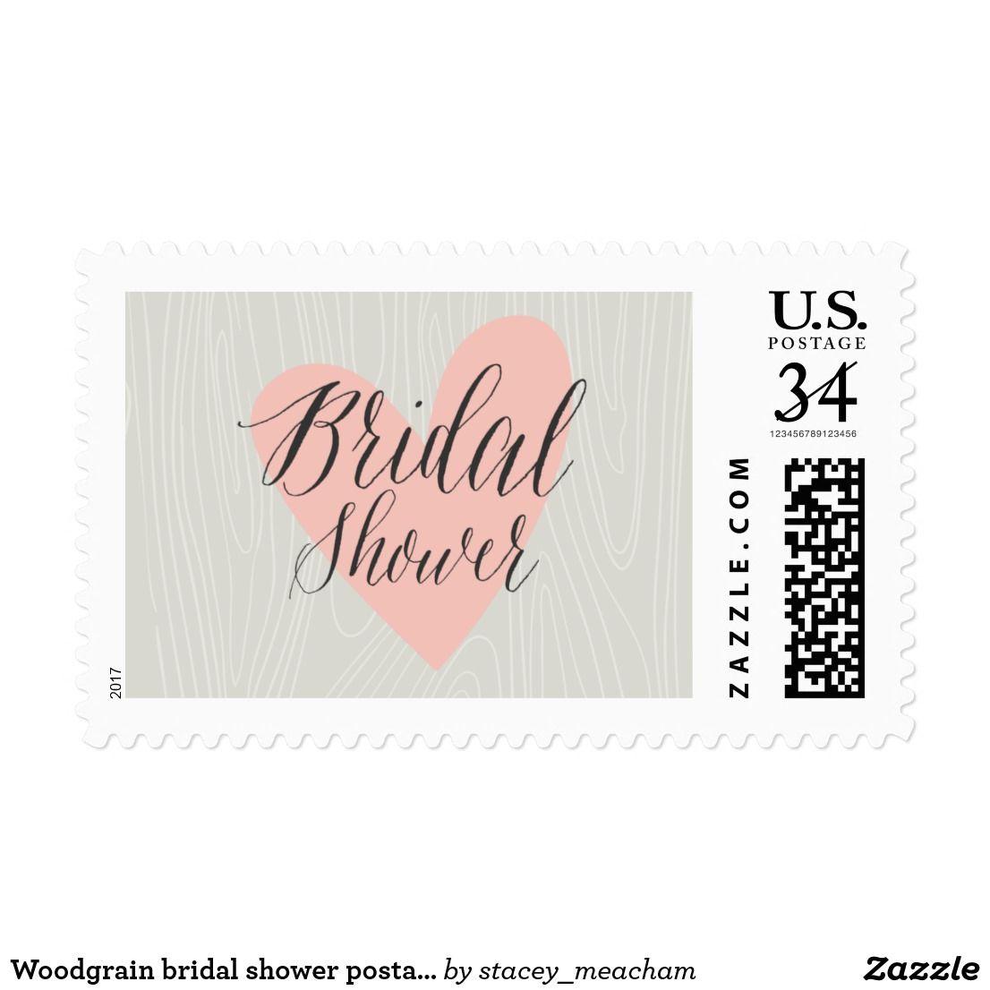 Woodgrain bridal shower postage stamp A modern bridal shower stamp ...