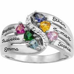 Zales Mothers Simulated Birthstone and Cubic Zirconia Ring in Sterling Silver with 10K Gold Plate (1-8 Stones and 2 Lines) cOiAzeVw