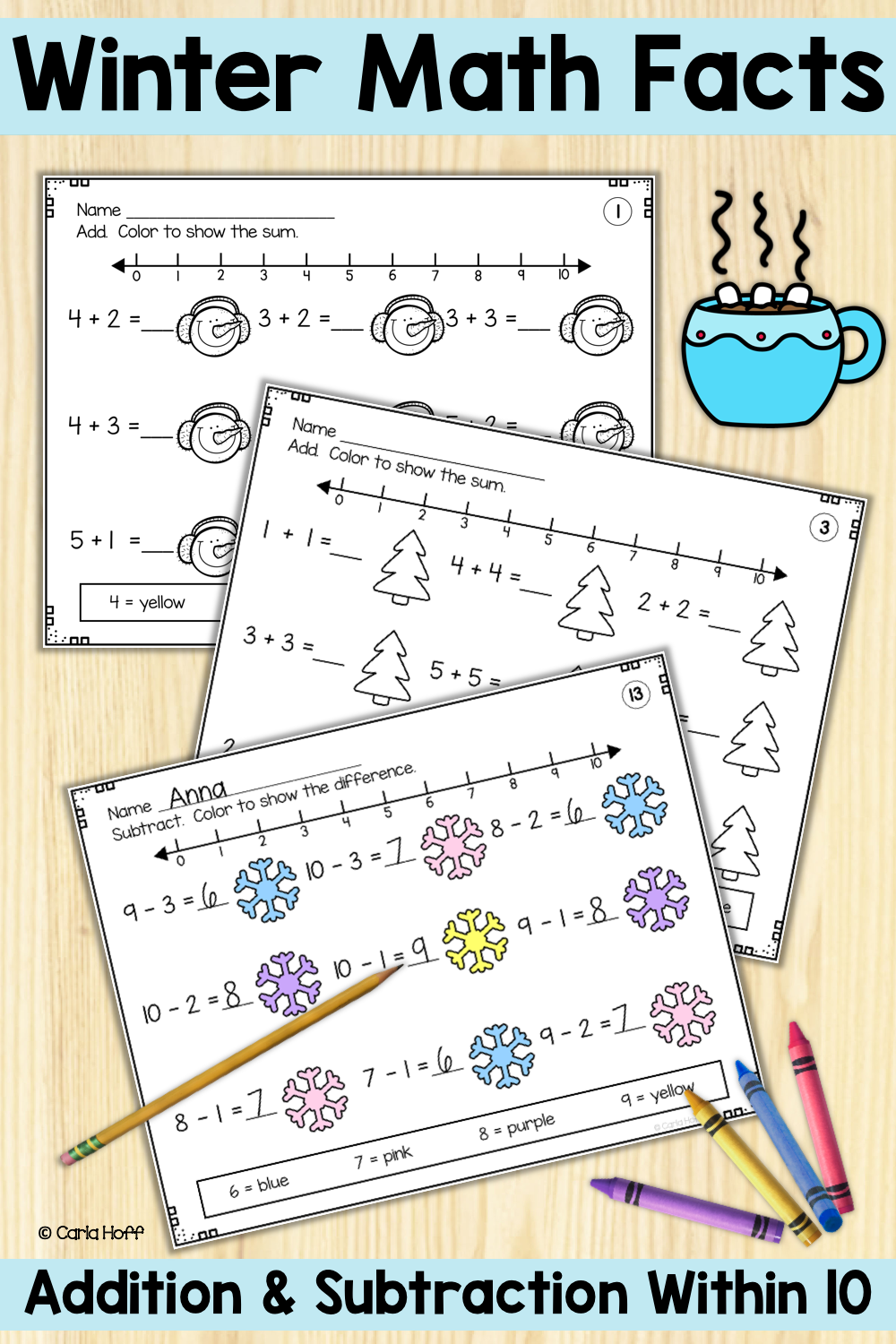 Predownload: Winter Addition Subtraction Within 10 Worksheets With Number Lines Addition And Subtraction Math Facts Addition Subtraction [ 1500 x 1000 Pixel ]