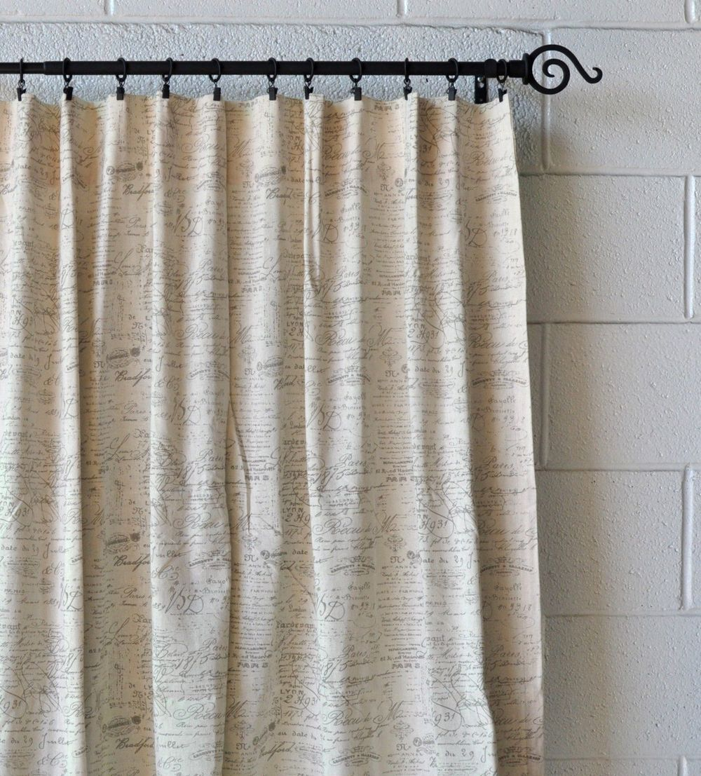 French Scripted Linen Drapery Designs Panel Curtains Curtains