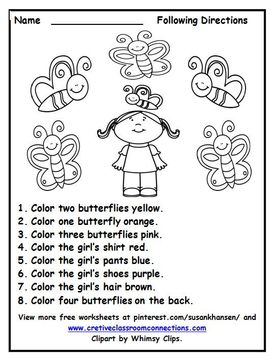 Free Following Directions worksheet with color words provides a fun ...