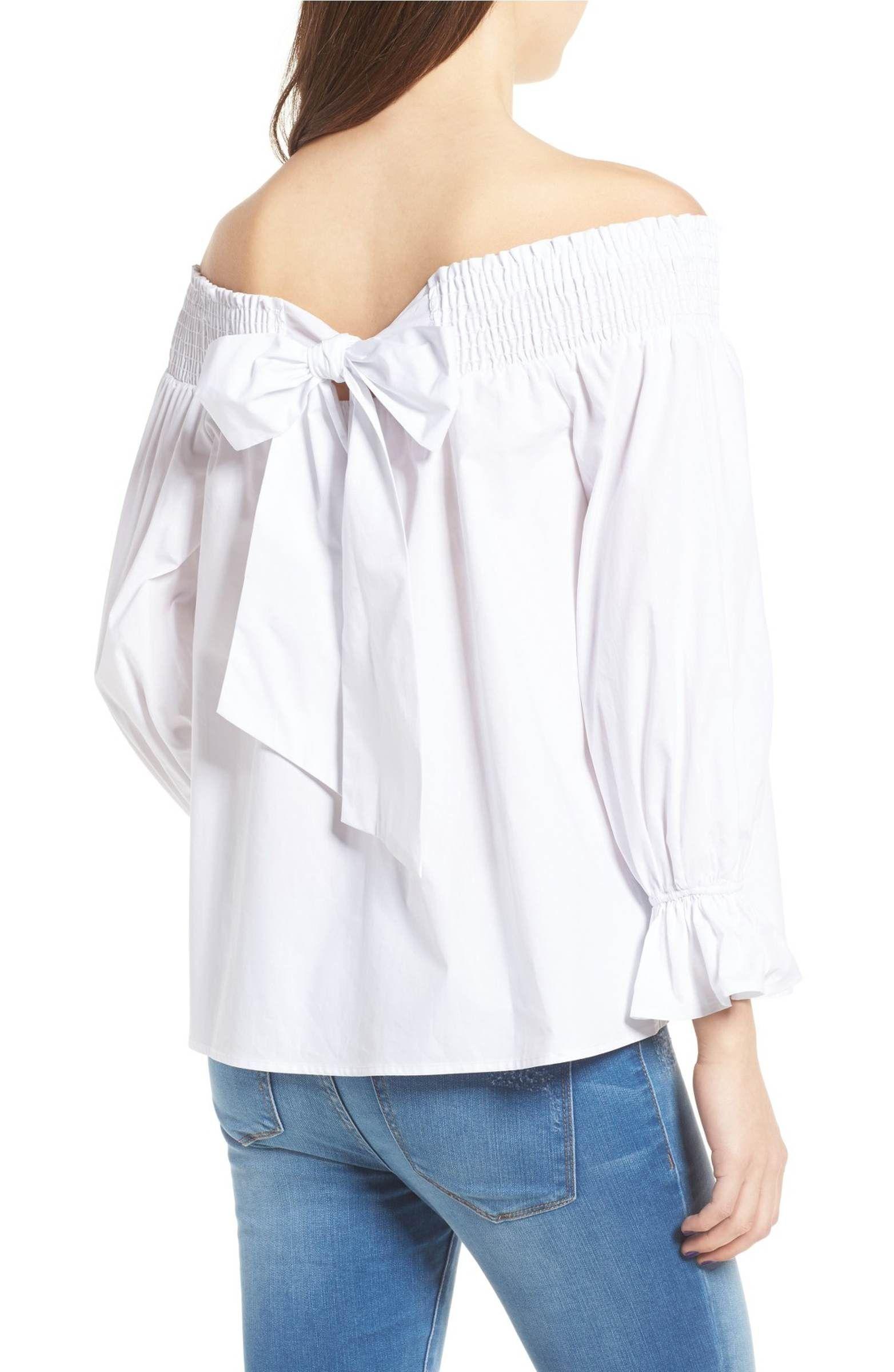 baf1037d2b2 Soprano Bow Off-the-Shoulder Top Nordstrom stylish white off the shoulder  blouse