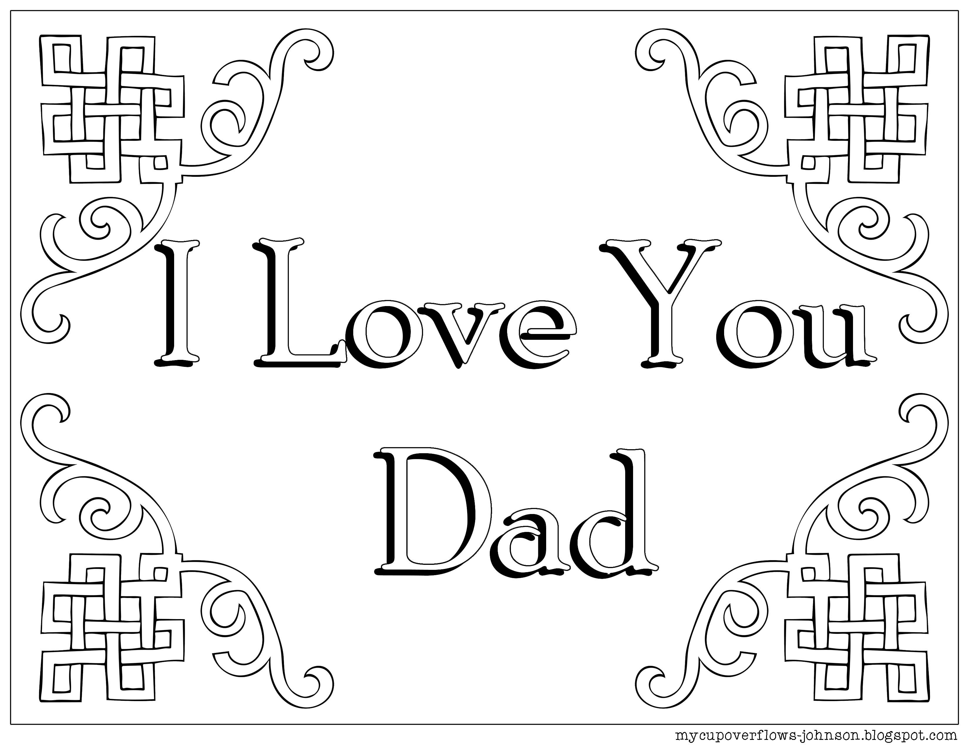 I Love You Dad Coloring Pages For Kids | Fathers day coloring page ... | 2550x3300