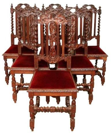 1880 Antique Dining Chairs Set 6 French Renaissance Hunting Oak Amazing Cheap Dining Room Chairs Set Of 6 Inspiration Design