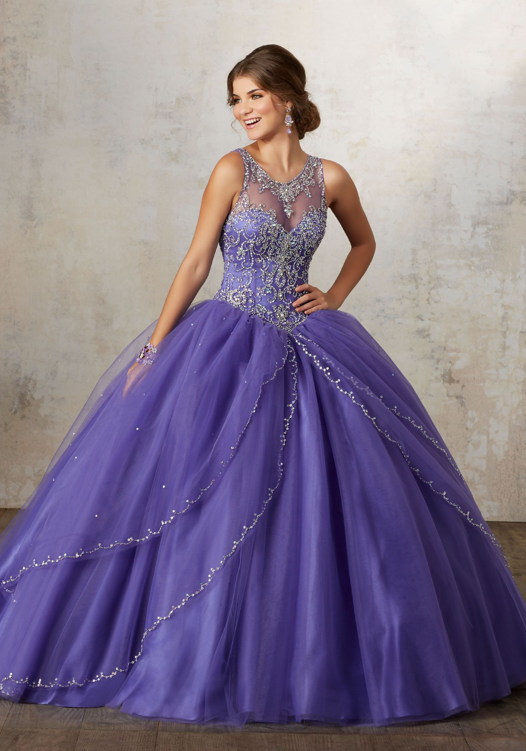 Accented with Jeweled Beading, Tulle Quinceañera Ballgown Features ...