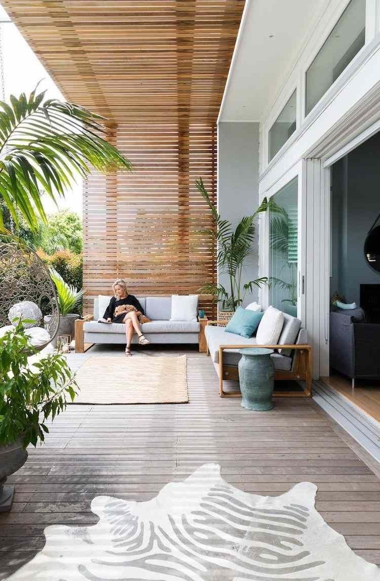 espace de vie exterieur terrasse moderne pergola bois tapis ...