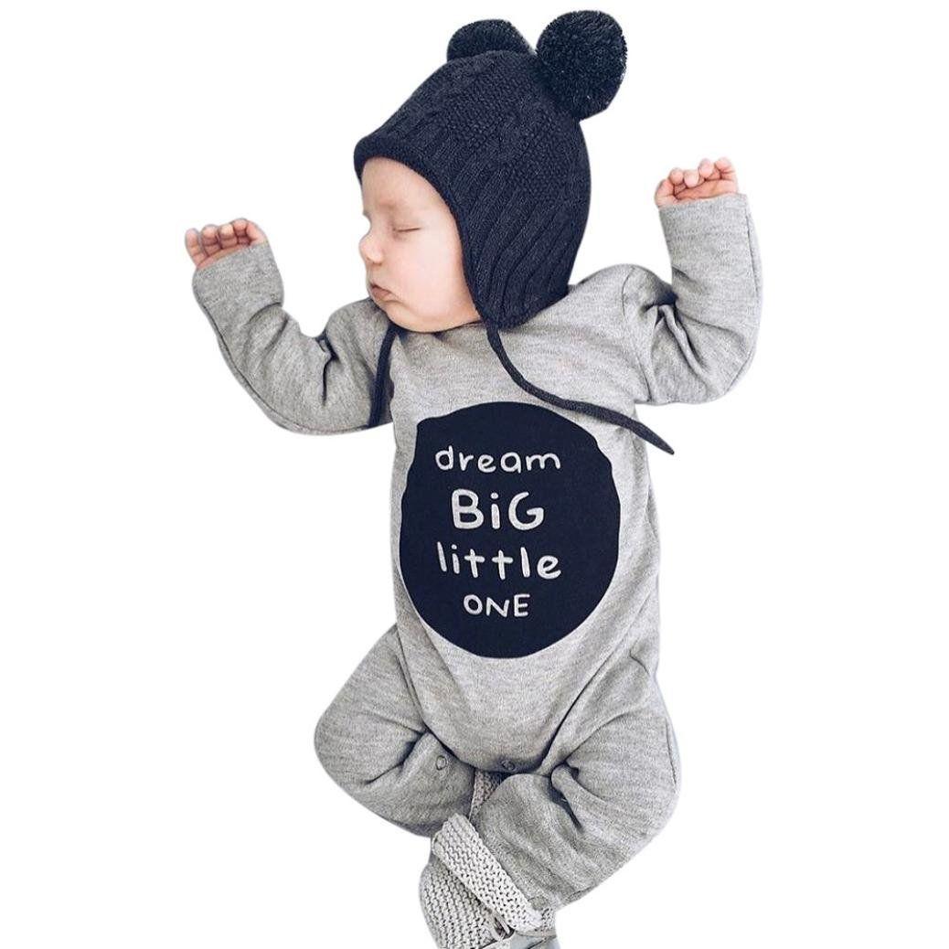 49f15d4d8c3 Mandystore Infant Romper Kids Baby Girls Boys Long Sleeve Letter Romper  Jumpsuit Clothes Outfits Set (