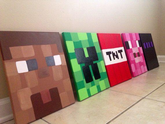 Minecraft Paintings  Hand painted Minecraft Art  Custom