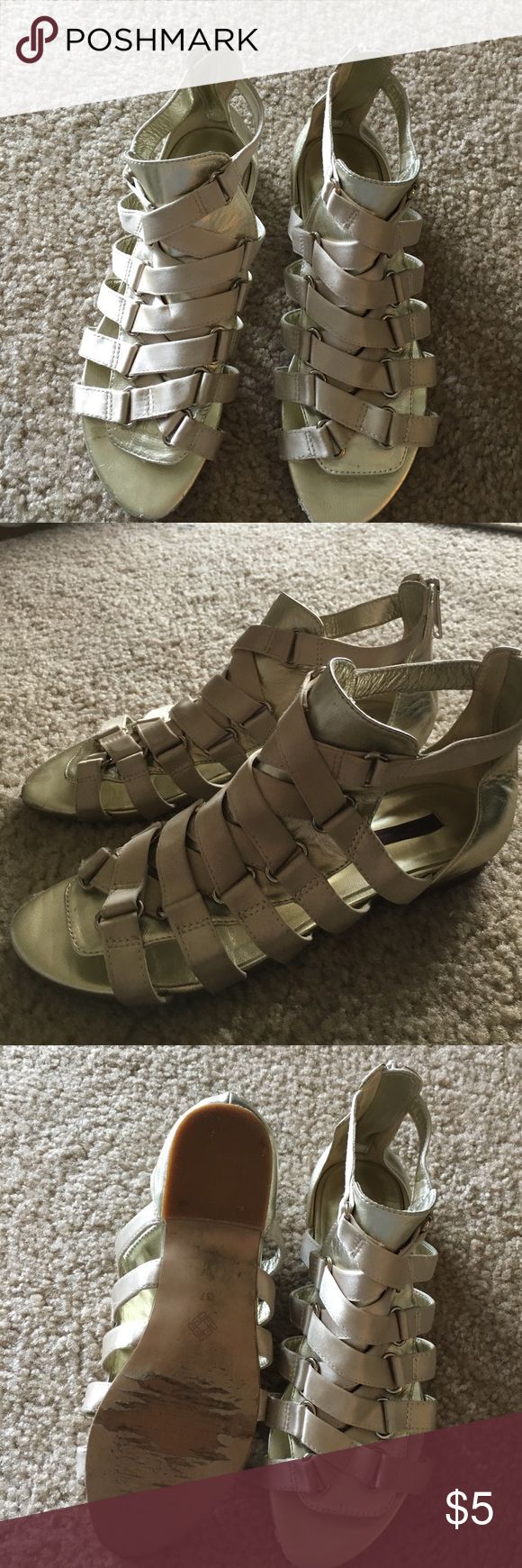 Gold sandals Gold strappy sandals. Low gladiator style Elegant Prosper Shoes Sandals