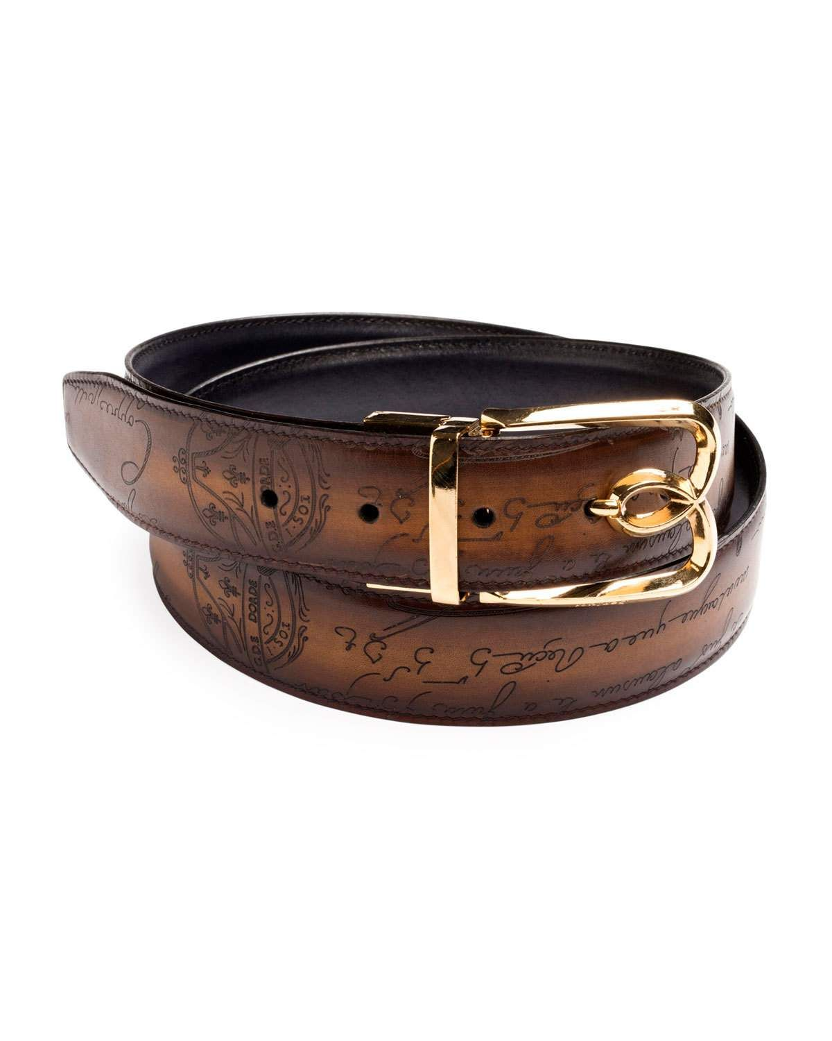 fb36f25cc5f Men's Reversible Scritto Leather Belt with B Logo Buckle   Products ...