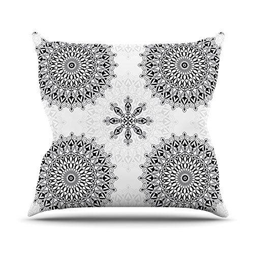 "Kess InHouse Julia Grifol ""Black Mandala"" White Black Throw Pillow, 26 by 26"" Kess InHouse http://www.amazon.com/dp/B0159YTN6I/ref=cm_sw_r_pi_dp_1eb9vb1X1C035, mandala #geometric #white #black #pillow #cover"