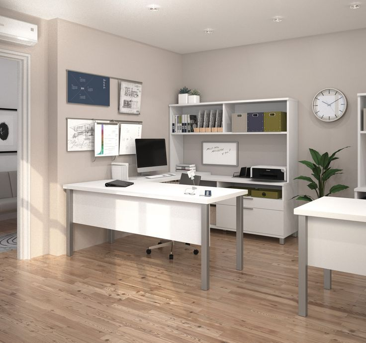 Modern White U Shaped Office Desk With Hutch // Home Office, Clean Modern