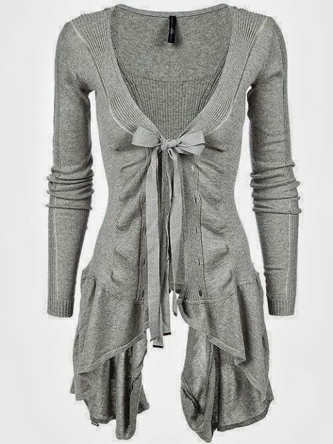 Adorable long light grey cardigan ladies sweater