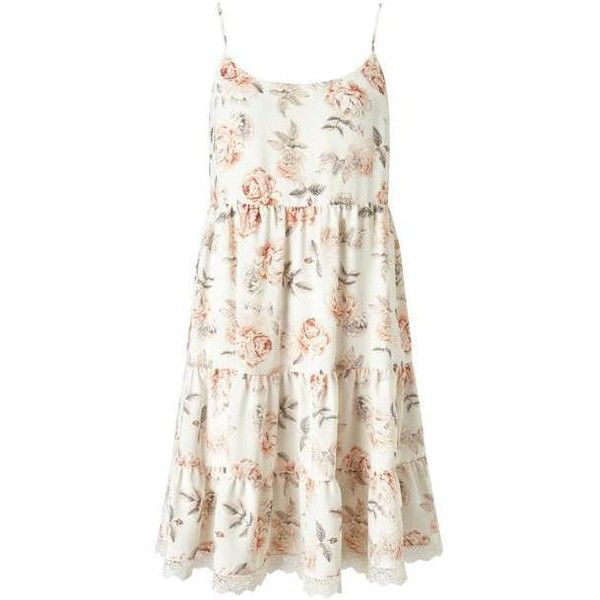 f44536c69ac7 Floral Tier Sundress ($60) ❤ liked on Polyvore featuring dresses, tiered  sundress, white dress, white flower print dress, white sun dress and flower  print ...