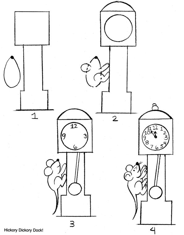 How To Draw Hickory Dickory Dock Nursery Rhyme Crafts Hickory