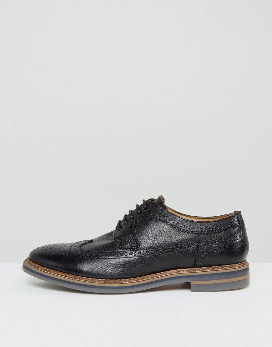 Base london turner leather brogue shoes black leather brogues