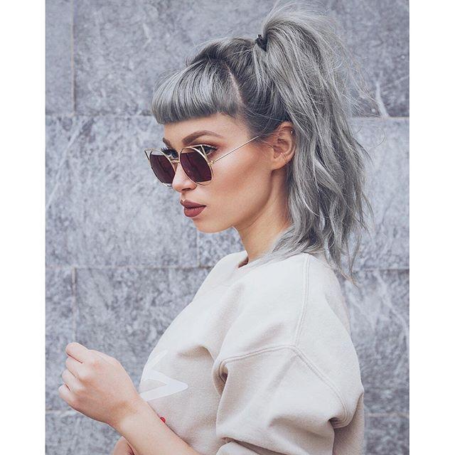 Silver Bangs And Ponytail Great Combination Hair Hair Hair