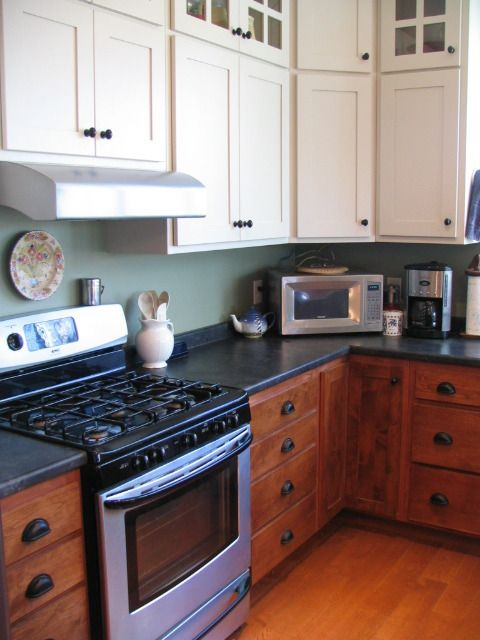 Two-tone kitchen, Stained Lowers, Painted White Uppers ... on ideas for galley kitchen remodel, tips for staining kitchen cabinets, ideas for kitchen island design, ideas for kitchen remodeling,