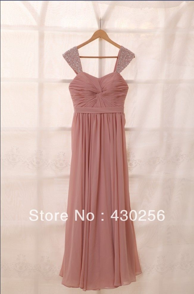 b817ec1dbb Free Shipping Dusty Rose Pink Chiffon Bridesmaid Dress Prom Dress ...