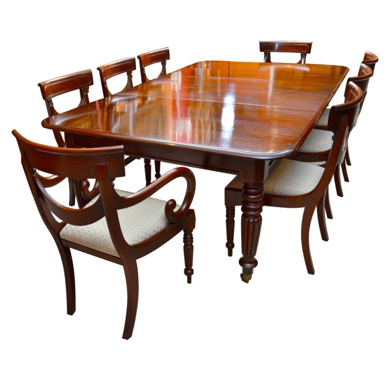 Vintage Dining Room Table: Antique Regency Dining Table With 8 Vintage Chairs