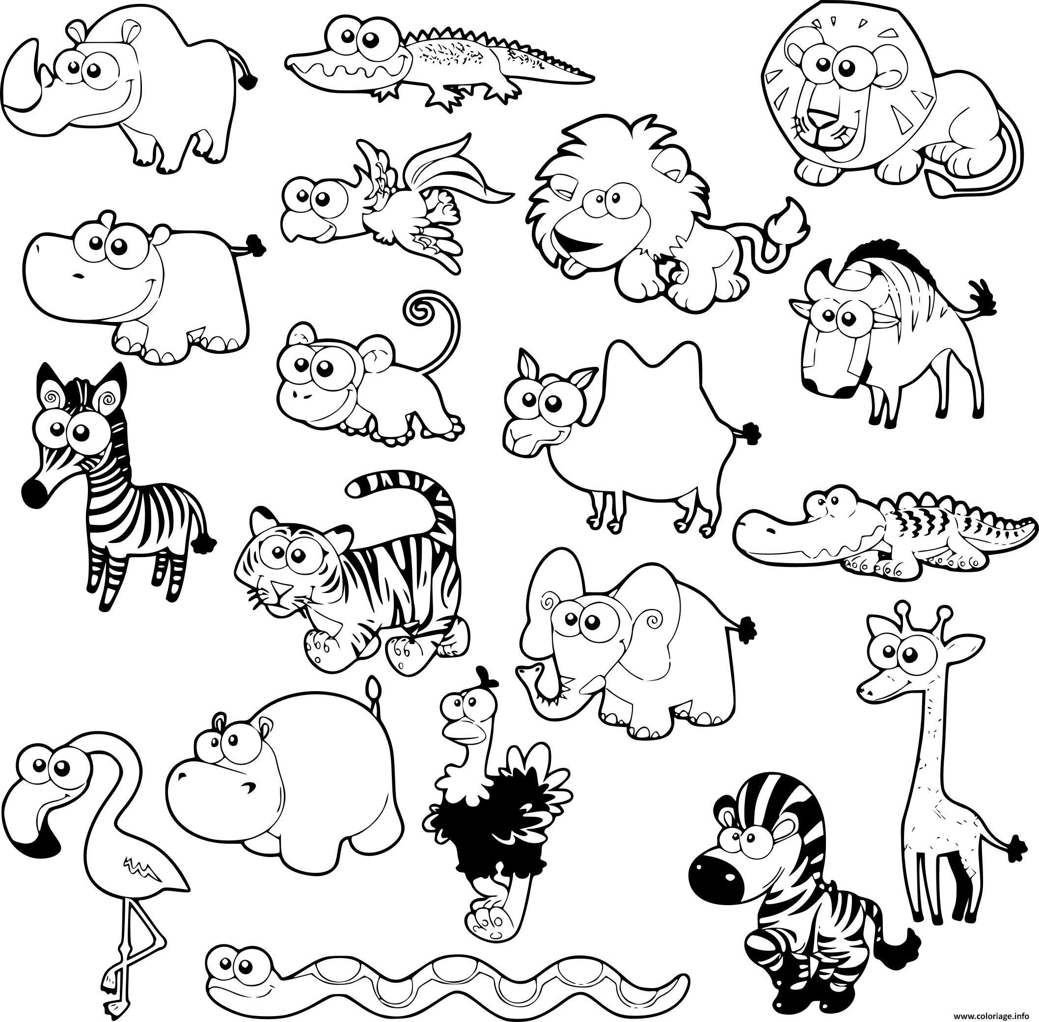 Coloriage kawaii animaux de la savane à imprimer  Desenhos, Geografia