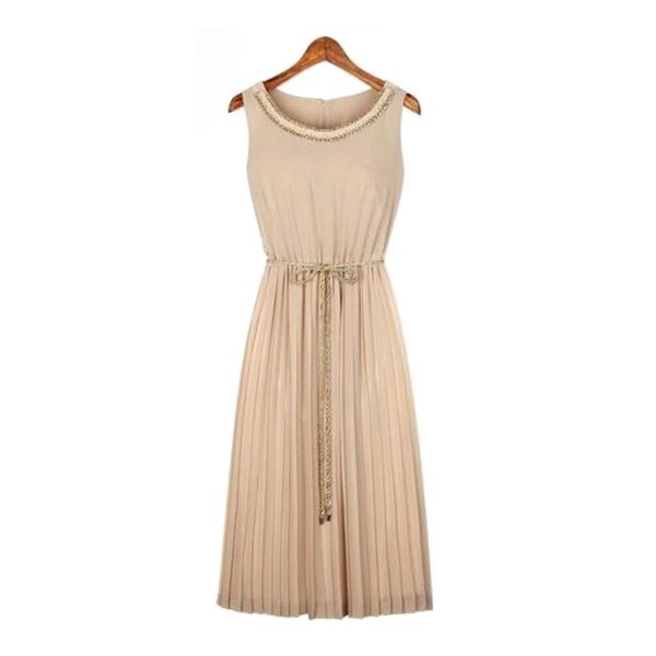 Simple Design O-Neck Pleated Sleeveless Slim Long Chiffon Dress
