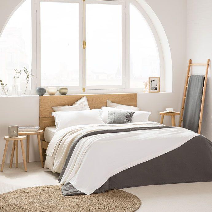 couvre lit et housse de coussin lin d lav blanc cass. Black Bedroom Furniture Sets. Home Design Ideas