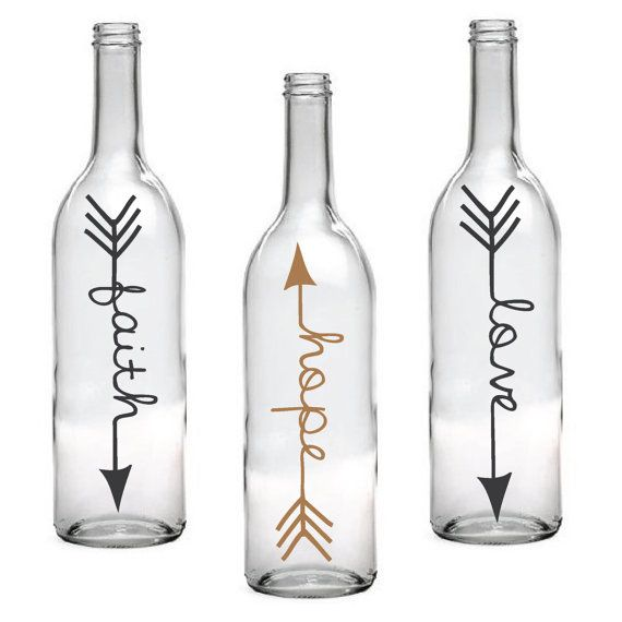 Set of 3 Faith Hope Love Wine Bottle with Arrow Design by LEVinyl